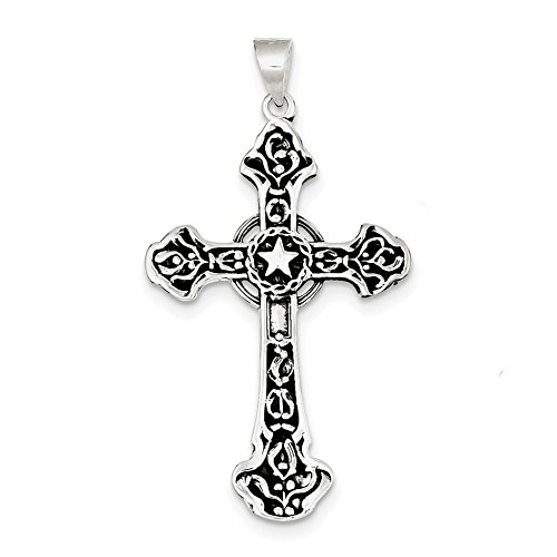 Sterling Silver Antiqued Cross Pendant QC4346