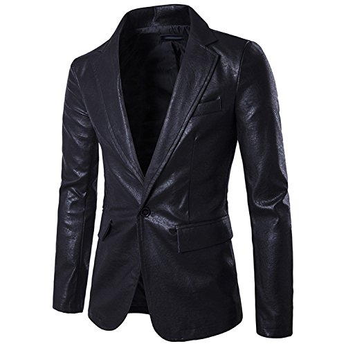 Coac3 Red PU Leather Dress Blazers Men Wedding Party Suit Jacket Casual Slim Motorcycle Faux Leather BX307 black XXL