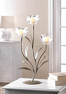 Crystal Flower Triple Candleholder Stand Centerpiece