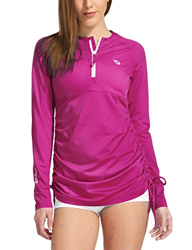 - Baleaf Women's Long Sleeve Half-Zip Sun Protection Rashguard Side Adjustable Swim Shirt Fuchsia Size S