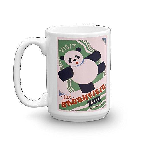 Vintage poster - Visit the Brookfield Zoo 1661 - Glossy White Ceramic Mug (15 oz.) (Visit Brookfield Zoo)