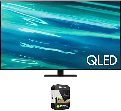 Samsung QN75Q80AA 75 Inch QLED 4K Smart TV (2021) Bundle with Premium 1 Year Extended Protection Plan