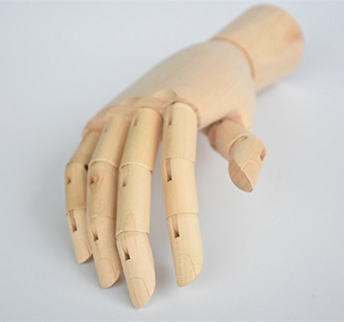Alikeke Wooden Hand Model Flexible Moveable Fingers Manikin Hand Figure Both Left and Right Hand for Sketching Drawing Home Office Desk Posable Joints Kids Children Toys Gift 10 INCH by Alikeke (Image #2)