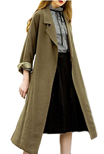 Gocgt Womens Lapel Open Front Wrap Belted Casual Long Trench Coat Army Green M by Gocgt (Image #4)