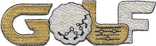 1 1/4'' x 4 1/2'' Whimsical Metallic Gold and Silver Golf Word Embroidered Patch