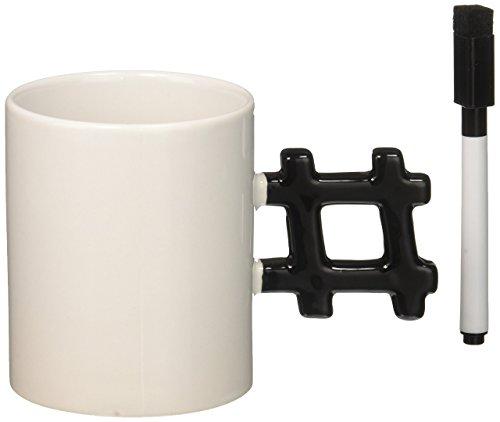 Kikkerland Hash Tag Mug, White