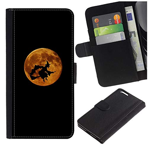 [Halloween Witch Flying Across Moon] for LG Aristo/LG Phoenix 3 / K8 2017 / Fortune/Risio 2 / K4 2017 / V3, Flip Leather Wallet Holsters Pouch Skin Case]()