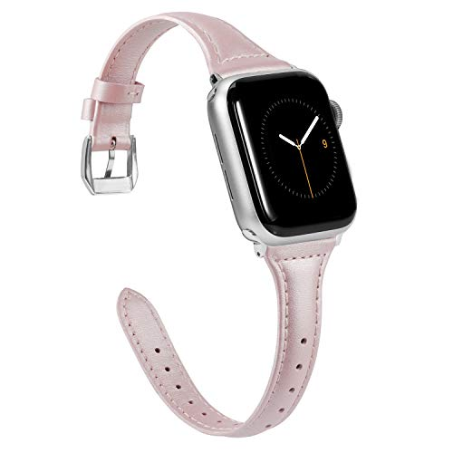 Wearlizer Thin Leather Compatible with Apple Watch Slim Bands 38mm 40mm for iWatch SE Womens Mens Strap Classic Wristband Slim Replacement (Metal Silver Clasp) Series 6 5 4 3 2 1 Sport-Pink Glitter