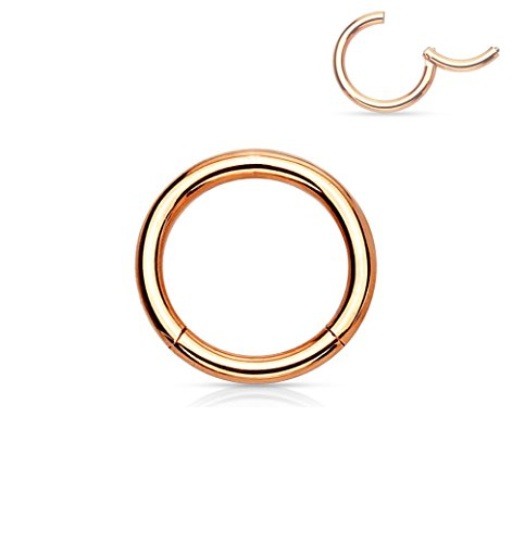 Forbidden Body Jewelry 14G 6mm Surgical Steel Hinged Easy Use Hassle Free Seamless Hoop Body Piercing Ring, Rose Gold Tone ()