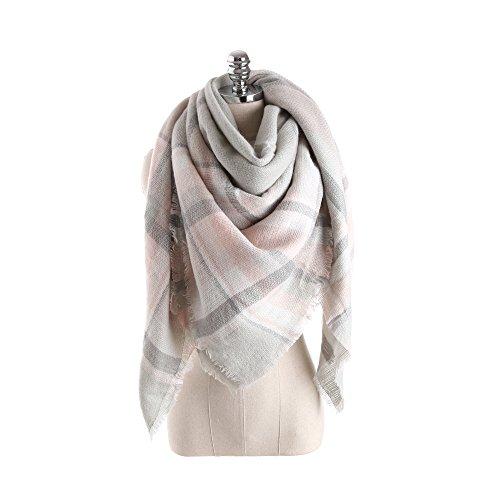 ReachMe Womens Plaid Scarf Tartan Blanket Scarves Cashmere Wrap Oversized Shawl