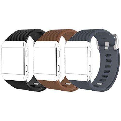 Fitbit Ionic用バンド ソフトシリコン 調節可能な交換用スポーツストラップバンド Fitbit Ionicスマートウォッチ用 (トラッカーなし) B077GMQR8R C-Black&Coffee&Slate Small (5.5\