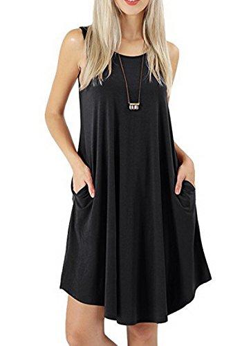 Tee-Shirt Manches Courtes Dcontract sans Manches pour Femmes Swing Dress avec Deux Poches Latrales Noir
