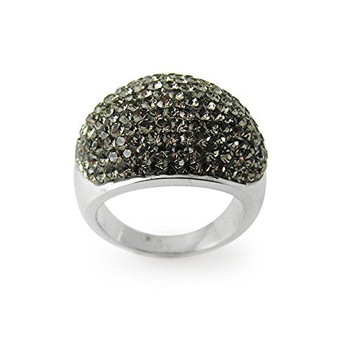 - Colorful Black Multi Preciosa Crystal Stone Setting on Ferdio Glue Finger Ring Size Q (Size 8)