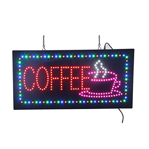 Espresso Outdoor Led Sign - HIDLY LED Coffee Cafe Espresso Open Light Sign Super Bright Electric Advertising Display Board for Message Business Shop Store Window Bedroom 19 x 10 inches