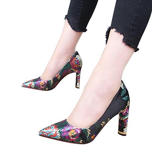 HBDLH-Damenschuhe Die Nationalen Stil Damenschuhe Herbst Zu Fuß Im Chinesischen Stil Retro Harte Sohle 9Cm Hochhackigen Schuhe Flachen Mund Hochzeit Einzelne Schuhe.