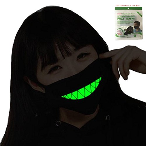 Mouth Mask ZWZCYZ Masks Cotton Cool Green Glow Teeth Luminous Anti Dust Muffle Kpop Face Mask for Cycling Party Halloween Gift Cosplay (Anime Halloween Mask)