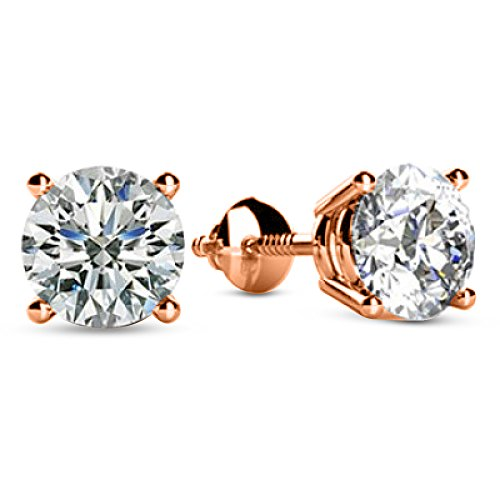 H/i Diamond Studs Round Earrings (1/2 0.5 Carat Total Weight White Round Diamond Solitaire Stud Earrings Pair set in 14K Rose Gold 4 Prong Screw Back (H-I Color I1 Clarity))