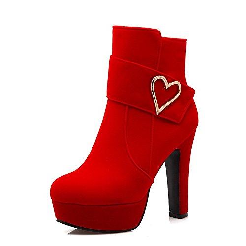 AllhqFashion Damen Niedrig-Spitze Metalldekoration Reißverschluss Hoher Absatz Stiefel Rot