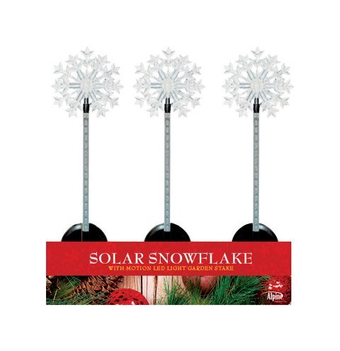 Alpine QLP232BB-12 Solar Snowflake Flashing Garden Stakes - Pack of 12
