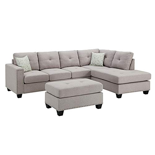 Sectional Sofa Set Linen Fabric Nailhead Studded Reversible with Ottoman (Light Gray) 2019 Updated Model by Bliss Brands (Best Sectional Brands 2019)