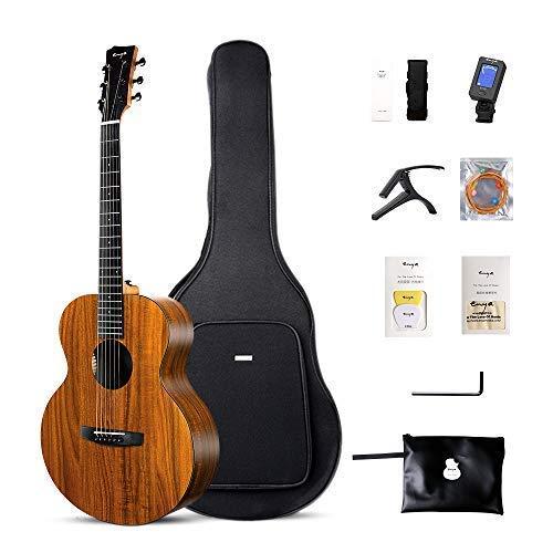 Enya EM-X1 Acoustic Guitar HPL 36 Inch Travel Guitar D'Addario Strings Beginner Bundle with Free Guitar bag,Capo,Tuner, Strap Etc.