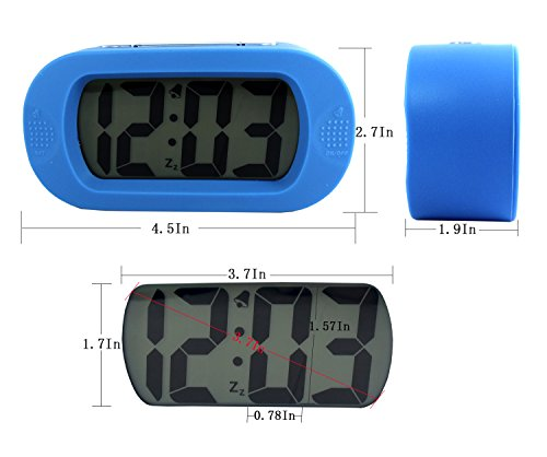 Large screen LCD Clock - Table or Wall Clock - Dimmable LCD Display - Great for Elderly People, Offices, Conference Rooms, Lobbies and School Classrooms - Huge 3.7In (blue)