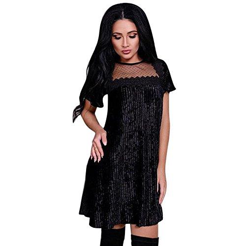 iLUGU O-Neck Short Sleeve Knee-Length Dress for Women Vertical Stripe Mesh Backless Ivory Dresses for Women