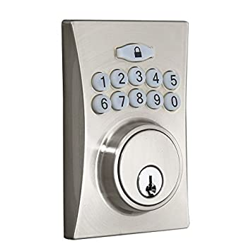 Gatehouse Satin Nickel Single Cylinder Motorized Electronic Entry Door  Deadbolt With Keypad