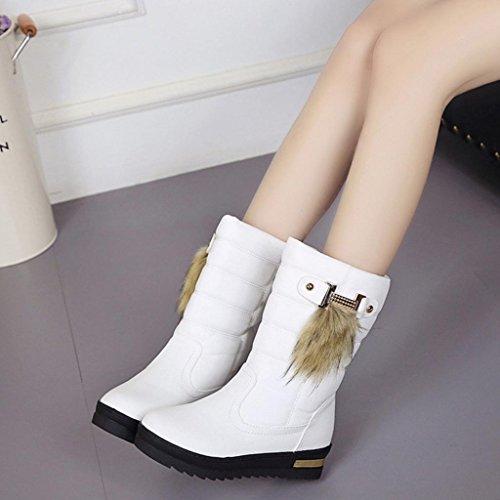 Transer® Damen Flach Kunstleder Stiefel Herbst Winter Warm Flach Schuhe Stiefeletten Schneestiefel Kunstpelz Weiß