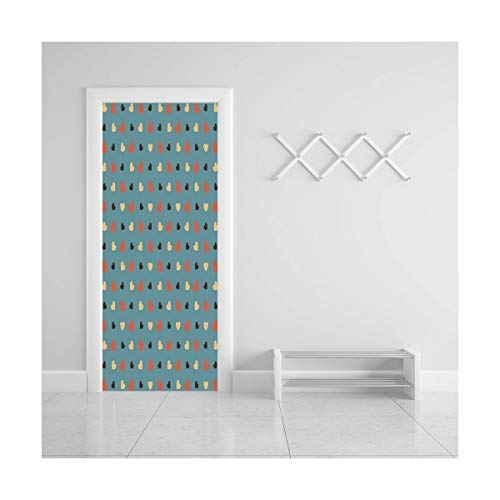 (HappyShopDecoration Door Decal Wall Murals 3D Vinyl Wallpaper Stickers for Room Decor,30.3x78.7 inches,Blue)