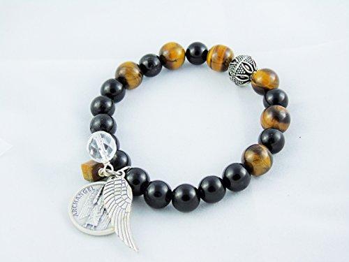 Tiger Eye Black Tourmaline Bracelet Crystal Healing Michael Angel Medal B104 ()