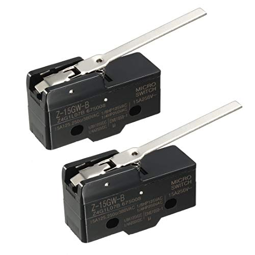 uxcell 2PCS Z-15GW-B 1NO + 1NC Long Hinge Lever Type Miniature Micro Switches ()