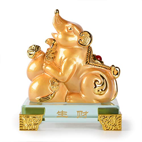 PopTop Brass Golden Resin Feng Shui Statue Chinese Zodiac Animal Mouse/Rat Home Office Table Top Decor Figurine Gift Collection PTZY112