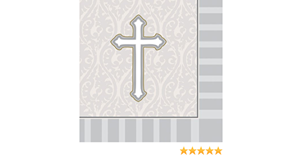 16-Count Christening Lunch Napkins Silver Devotion Cross