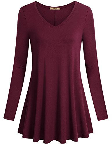 Form Fitting Shirts for Women,Miusey V Neck Long Sleeve Flared Shirt Flowy Loose Fit Solid Color Casual Tunic Tops Wine Red X-Large