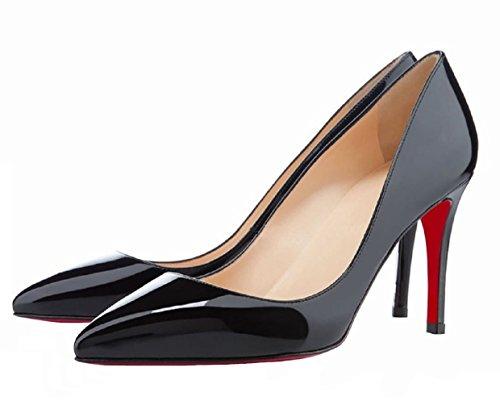 HooH Women's Pointed-toe Wedding Shoes Stiletto Red Sole Black ZbdGkDEEFN