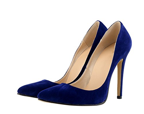 Sexy Pointed Heeled Women's On High Fashion Slip Toe blue Dress Shallow Pumps velveteen Mouth Shoes 5IIqZwzTx