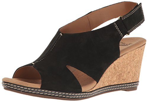 CLARKS Womens Helio Float Wedge Sandal, Black Nubuck, 12 M US
