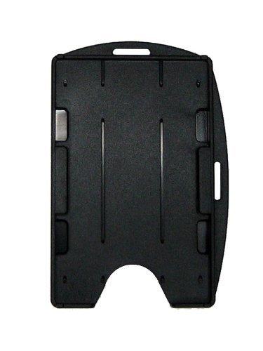 Bulk 50 Pack - Specialist ID Black Dual Card ID Badge Holder - Holds 2 Cards - Rigid Hard Plastic
