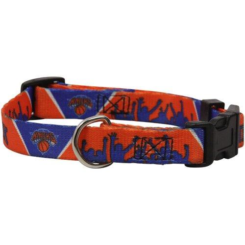 NBA New York Knicks Adjustable Dog Collar - Royal Blue-Orange (Large) by Hunter