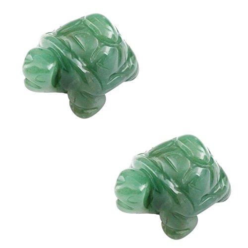 SUNYIK Green Aventurine Turtle Tortoise Pocket Statue Figurines Bookend Aamulet Fengshui Pack of 2