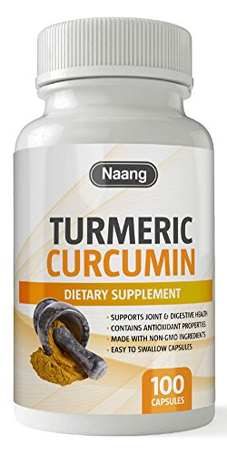Turmeric Curcumin Supplement 400mg of 95% Curcuminoids and Curcuma Longa – Premium Joint Support, Pain Relief, Depression and Mood Enhancer, Contains 100 Capsules by Naang For Sale