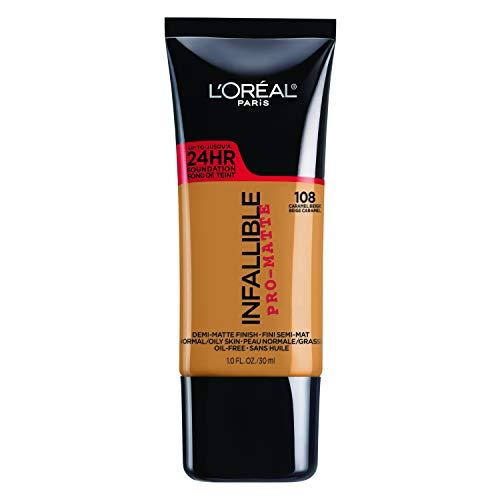 L'Oréal Paris Infallible Pro-Matte Liquid Longwear Foundation Makeup, 108 Caramel Beige, 1 fl. oz.