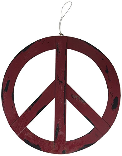 Metal Antiqued Groovy Peace Sign Holiday Decor w/Hanger (12