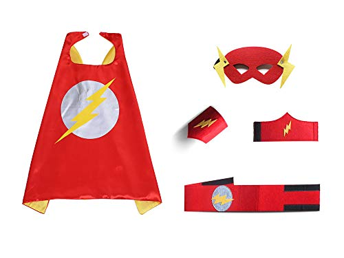 Kids Red Flash Capes and Masks Sets Children DIY Dress Up Costume for Parties ()