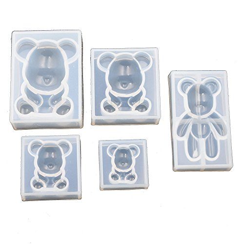(5pieces Pack Cute Bear Mold for Jewelry Pendant Charms Making DIY Resin Casting Mould)