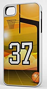 Basketball Sports Fan Player Number 37 White Rubber Hybrid Tough Case Decorative iphone 5s Case