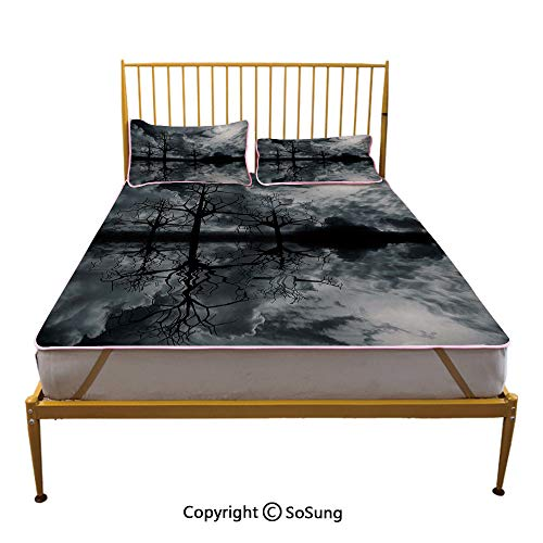Landscape Creative Full Size Summer Cool Mat,3D Graphic Fantasy Land at Night Cloudy Sky Moon Trees Water Reflection Sleeping & Play Cool Mat,Black White Grey