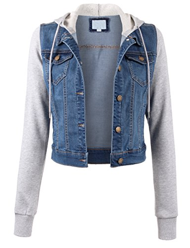 KOOLDO Womens Classic Solid Long Sleeve Button Down Denim Jacket with Pockets