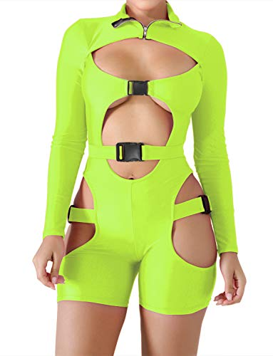 VWIWV Women Bodycon Buckle Cut Out Biker Romper Sexy Long Sleeves Hollowing Out Clubwear Bodysuit Short Jumpsuit Pants Green ()